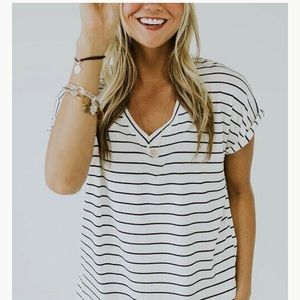 Tops - Relaxed Striped Short Sleeve Top. Small